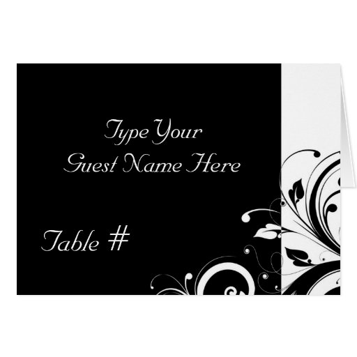 Black and White Reverse Swirl Wedding Place Cards
