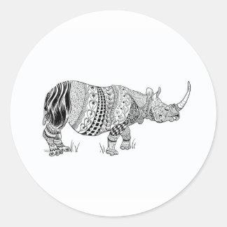 Black and White Rhino Scrap book Sticker