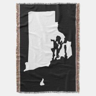 Black and White Rhode Island Shape Throw Blanket