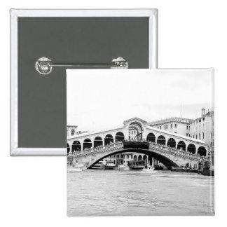 Black and White Rialto Bridge, Venice. 15 Cm Square Badge