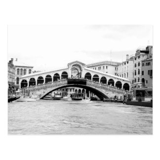 Black and White Rialto Bridge, Venice. Postcard