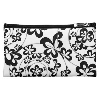 Black and White Rings and Flowers Cosmetics Bags