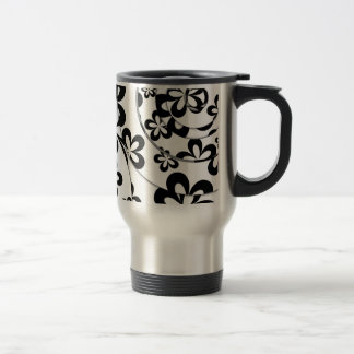 Black and White Rings and Flowers Travel Mug