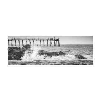 Black and White Rocks and Pier Canvas Gallery Wrapped Canvas