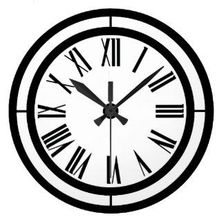 Black and White Roman Numerals Wall Clock