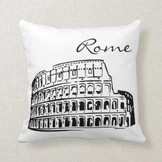 Black and White Rome Landmark Cushion