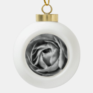 BLACK AND WHITE ROSE CERAMIC BALL DECORATION