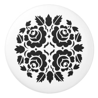 Black and White Rose Drawer knob