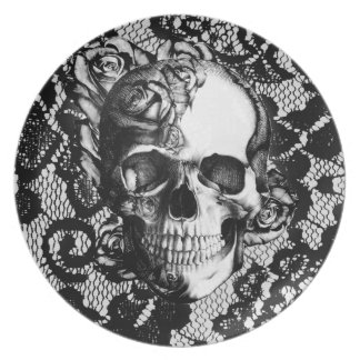 Black and white rose skull on lace background. party plate