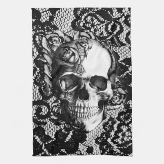 Black and white rose skull on lace background. tea towel