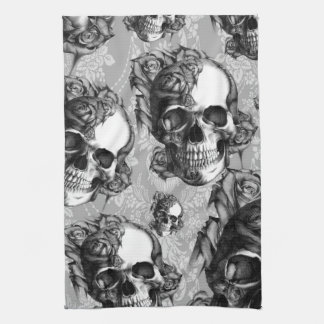 Black and white rose skull pattern, hand drawn. tea towel