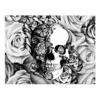 Black and white rose skull with butterflies postcard