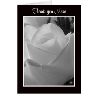 Black and White Rose Thank You Mom Cards