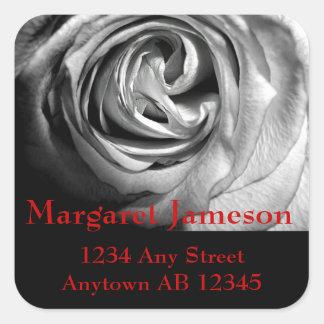 Black and White Rose Wedding Return Address Sticker
