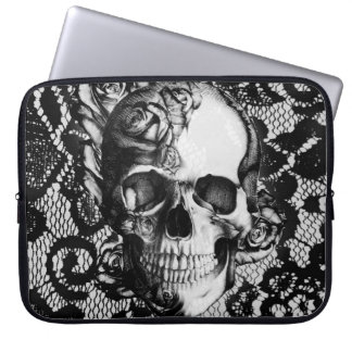 Black and white roses and lace skull laptop sleeve