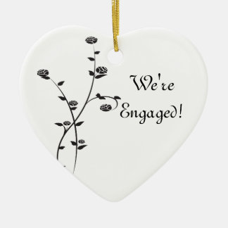 Black and White Roses Engagement Ceramic Heart Decoration