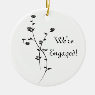 Black and White Roses Engagement Ceramic Ornament