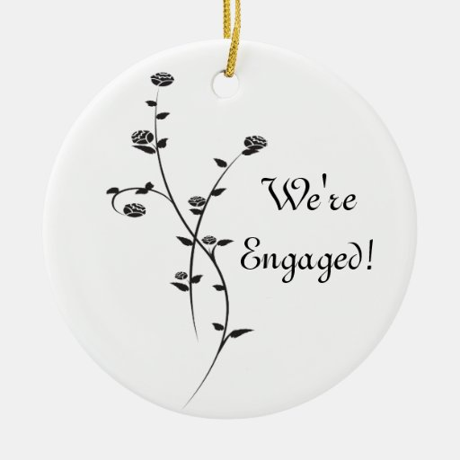 Black and White Roses Engagement Round Ornament