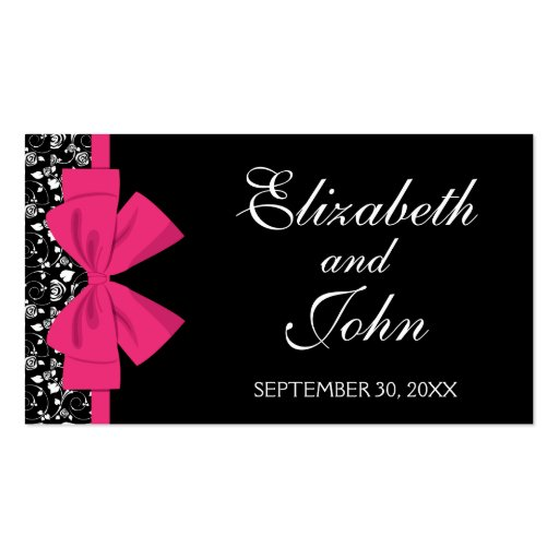 Black and White Roses Pink Bow Business Cards