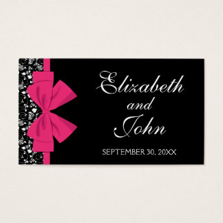 Black and White Roses Pink Bow Business Card