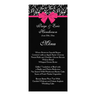 Black and White Roses Pink Bow Custom Rack Cards