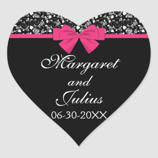Black and White Roses Pink Bow Heart Sticker