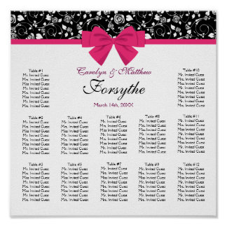Black and White Roses Pink Bow Poster