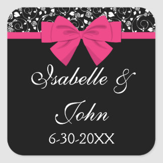 Black and White Roses Pink Bow Square Sticker