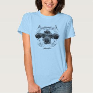 Black and White Roses / Tribal Pattern Blue Shirt
