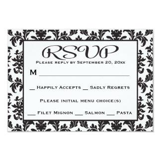 Black And White RSVP Damask Floral Wedding / Party 9 Cm X 13 Cm Invitation Card