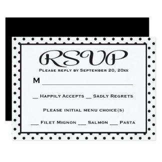 Black And White RSVP Polka Dot Wedding / Party 9 Cm X 13 Cm Invitation Card
