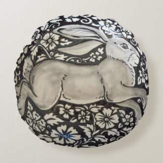 Black and White Running Rabbit Hare Round Pillow