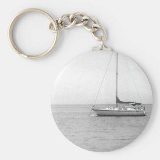 Black and White Sailboat Photo Basic Round Button Key Ring