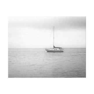 Black and White Sailboat Photo Canvas Print