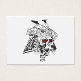 black and white samurai helmet with skull business card