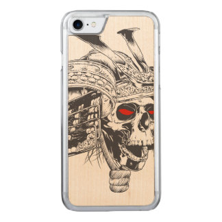 black and white samurai helmet with skull carved iPhone 7 case