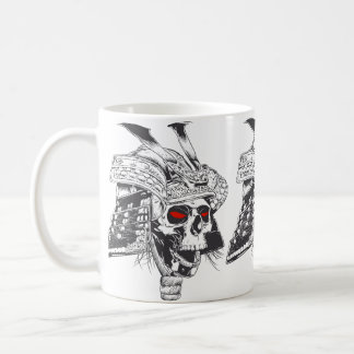 black and white samurai helmet with skull coffee mug