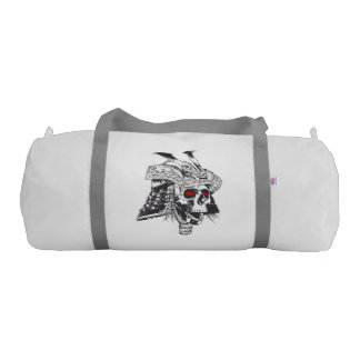 black and white samurai helmet with skull gym bag