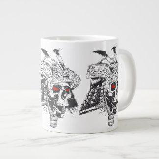 black and white samurai helmet with skull large coffee mug
