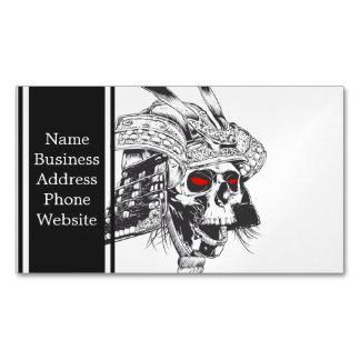 black and white samurai helmet with skull magnetic business cards