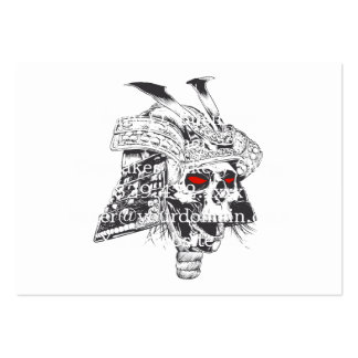 black and white samurai helmet with skull pack of chubby business cards