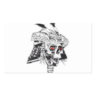 black and white samurai helmet with skull pack of standard business cards