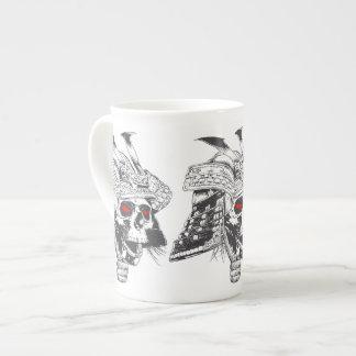 black and white samurai helmet with skull tea cup