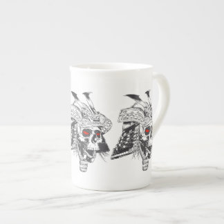 black and white samurai helmet with skull tea cup