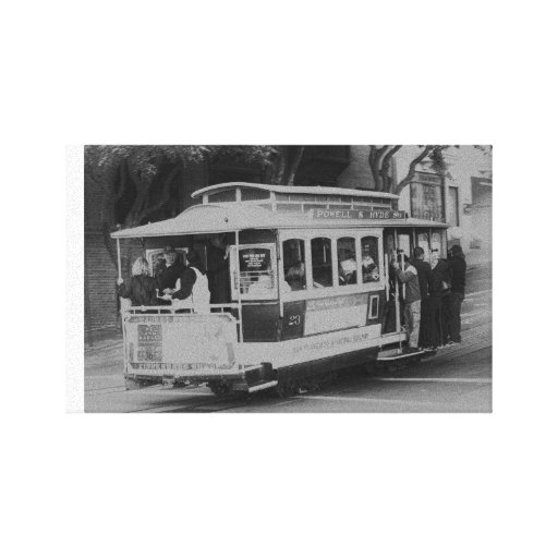 Black and White San Francisco Cable Car Stretched Canvas Prints