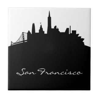 Black and White San Francisco Skyline Ceramic Tile