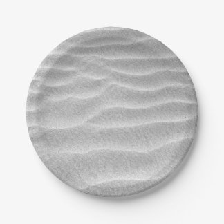 Black and White Sand Ripples Paper Plate