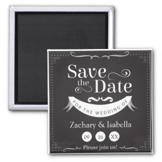 Black and White Save the Date Magnet