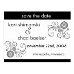 Black and white Save the date Post Card