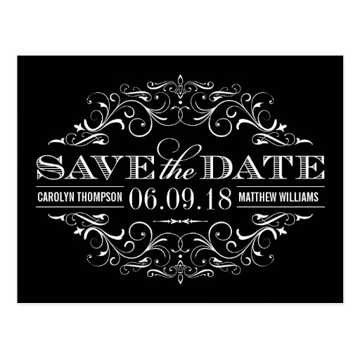 Black and White Save the Date | Swirl and Flourish Postcards